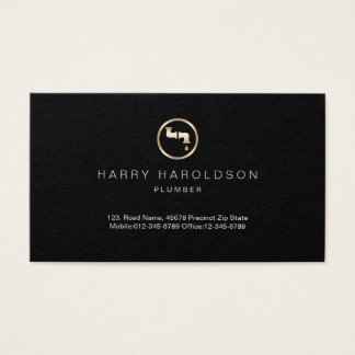 Gold Water Pipes Icon Plumber Business Card