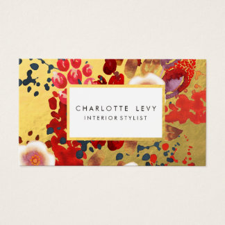 Gold Watercolor Abstract Floral Art Stylist Business Card