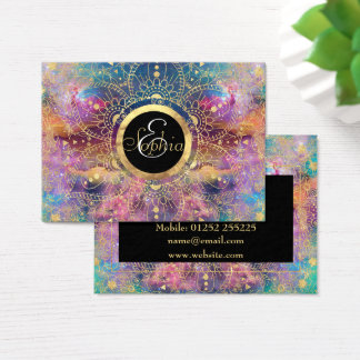 Gold watercolor and nebula mandala business card