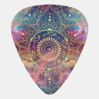Gold watercolor and nebula mandala guitar pick