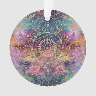 Gold watercolor and nebula mandala ornament