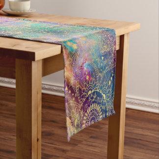 Gold watercolor and nebula mandala short table runner