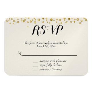 Gold Watercolor Confetti RSVP 9 Cm X 13 Cm Invitation Card