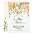 Gold Watercolor Floral on White | Baptism Card
