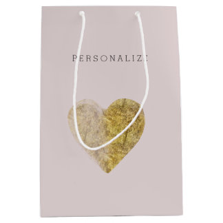 Gold Watercolor Heart Medium Gift Bag