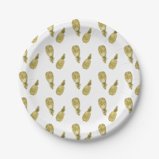 Gold Watercolor Pineapples Paper Plate