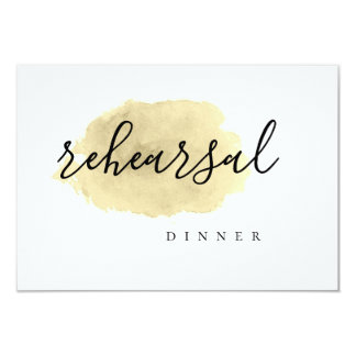 Gold watercolor rehearsal dinner invitations