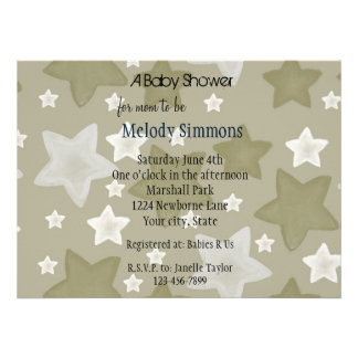 Gold Watercolor Stars Invitations