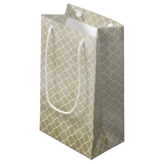 Gold Watercolor White Quatrefoil Small Gift Bag