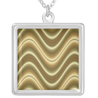 gold wave abstract square pendant necklace