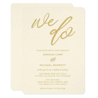 Gold We Do Script Beach Wedding Invitation