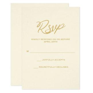 Gold We Do Script Wedding RSVP Card