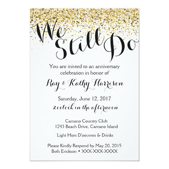 Gold we still do wedding anniversary invitation zazzle gold we still do wedding anniversary invitation stopboris