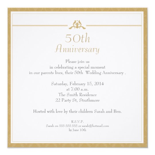 Gold Wedding Anniversary Invitation