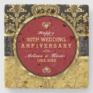 Gold Wedding Anniversary Red Black & Gold Stone Beverage Coaster
