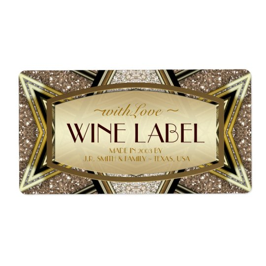 Gold Wedding Art Deco Glam Wine Labels