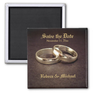 Gold Wedding Band Save the Date Magnets
