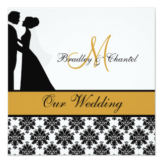 "Gold Wedding Couple Wedding Invitation 5.25"" Square Invitation Card"