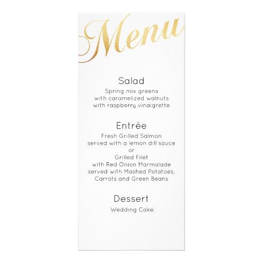 Gold wedding dinner menu. Elegant table decor Custom