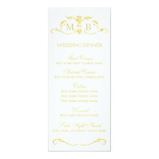 Gold wedding dinner menu template card