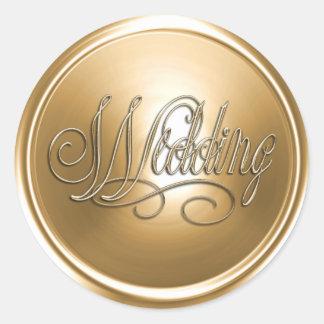Gold Wedding Envelope Seal Round Stickers