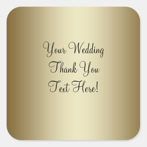 Gold Wedding Favor Thank You Sticker