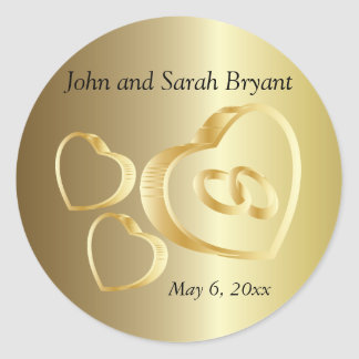 Gold Wedding Hearts and Rings Round Sticker