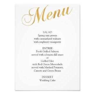Gold wedding menu poster. Elegant dinner menu Photo Art