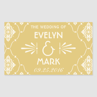 Gold Wedding Monogram | Art Deco Rectangular Sticker