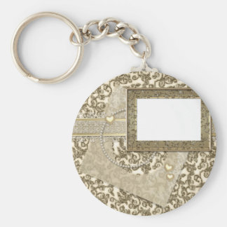 Gold Wedding or Anniversary with Photo Frame Basic Round Button Key Ring