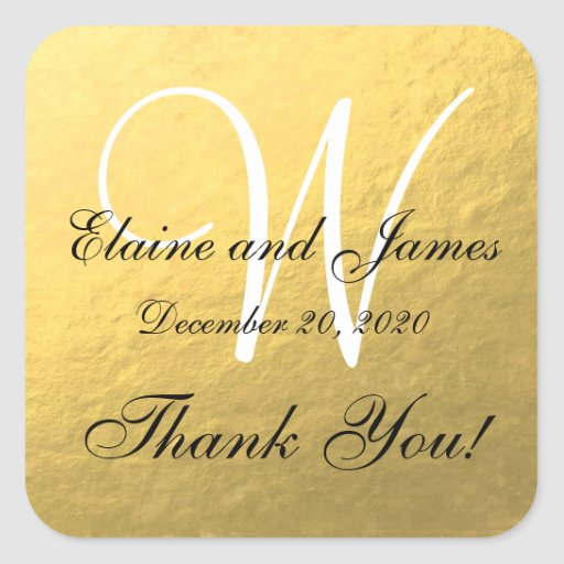 Gold Wedding Personalized Thank You Square Label Sticker