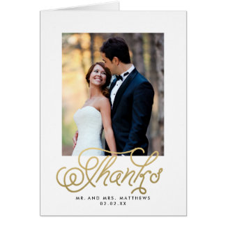 Gold Wedding Photo Thank You Card Folded Style