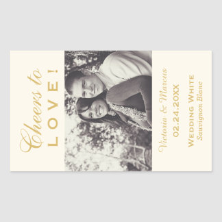 Gold Wedding Photo Wine Bottle Favor Rectangular Sticker