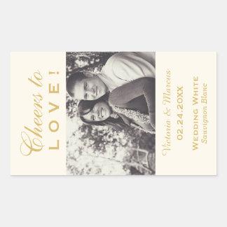Gold Wedding Photo Wine Bottle Favor Rectangular Sticker