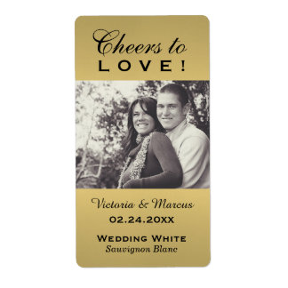 Gold Wedding Photo Wine Bottle Favour Labels