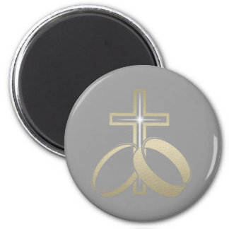 Gold Wedding Rings and Cross 6 Cm Round Magnet