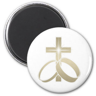 Gold wedding rings and cross art 6 cm round magnet
