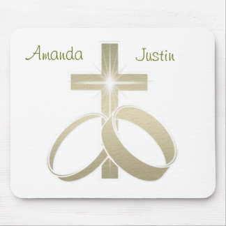 Gold wedding rings and cross art mouse pad