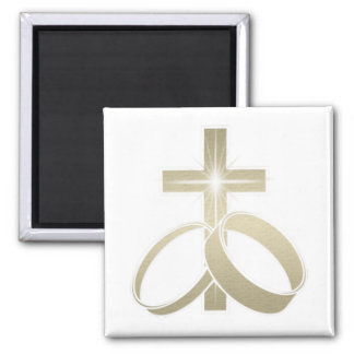 Gold wedding rings and cross art square magnet