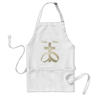 Gold wedding rings and cross art standard apron