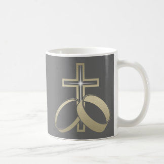 Gold Wedding Rings and Cross Coffee Mug
