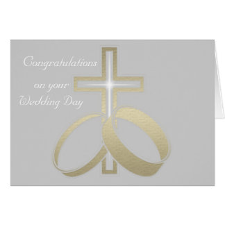 Gold Wedding Rings and Cross Greeting Card