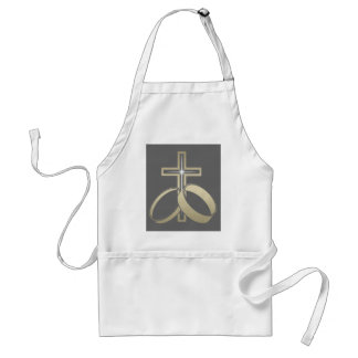 Gold Wedding Rings and Cross Standard Apron