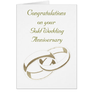 Gold Wedding Rings Art Gifts Greeting Card