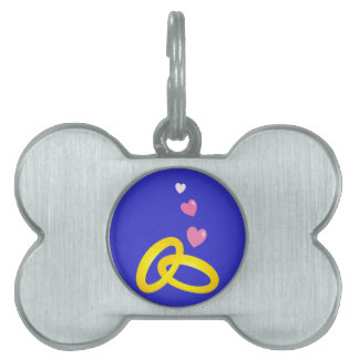 Gold wedding rings bands with love hearts pet ID tag