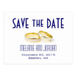 Gold Wedding Rings Blue Save the Date Postcards