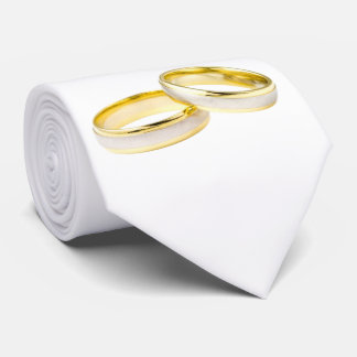 Gold Wedding Rings on White Tie