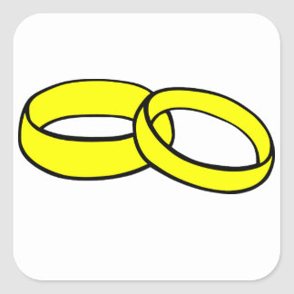Gold Wedding Rings Square Sticker