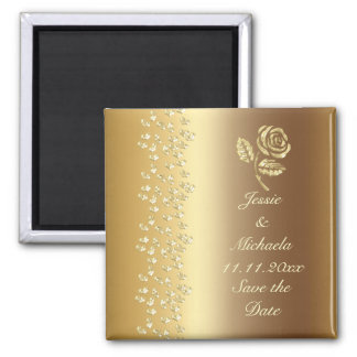 Gold Wedding Rose and Hearts Save the Date Square Magnet