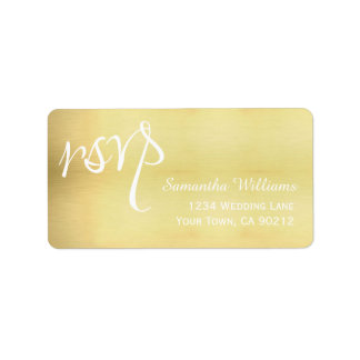 Gold Wedding RSVP Labels